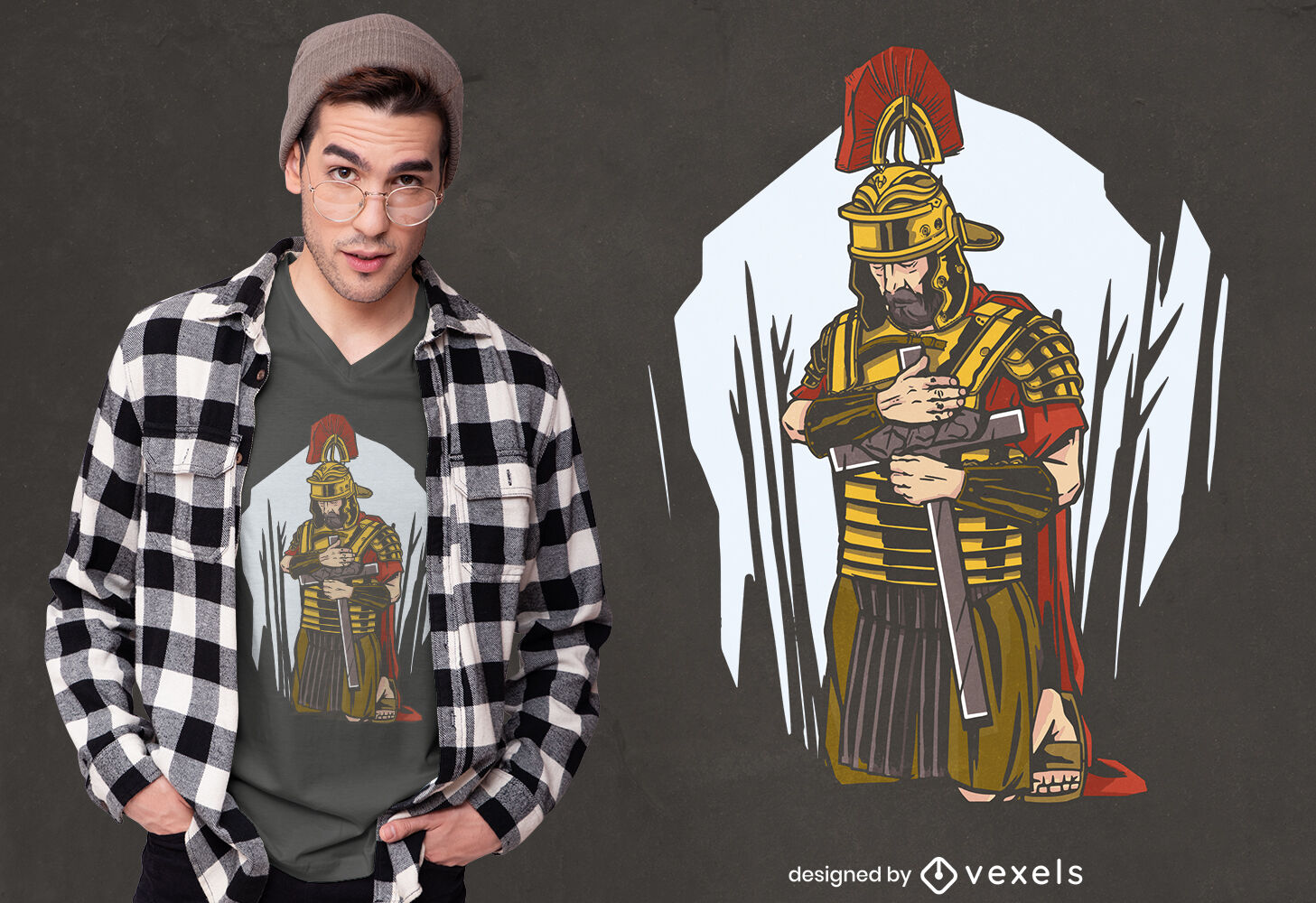 Römischer Soldat umarmt Kreuz-T-Shirt-Design