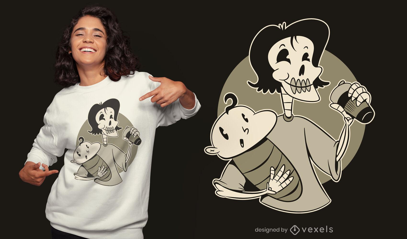 Diseño de camiseta esqueleto de madre y bebé.