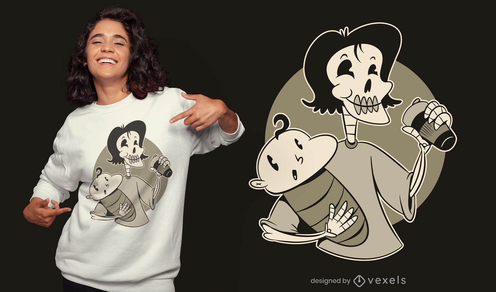 Skeleton mother and baby t-shirt design