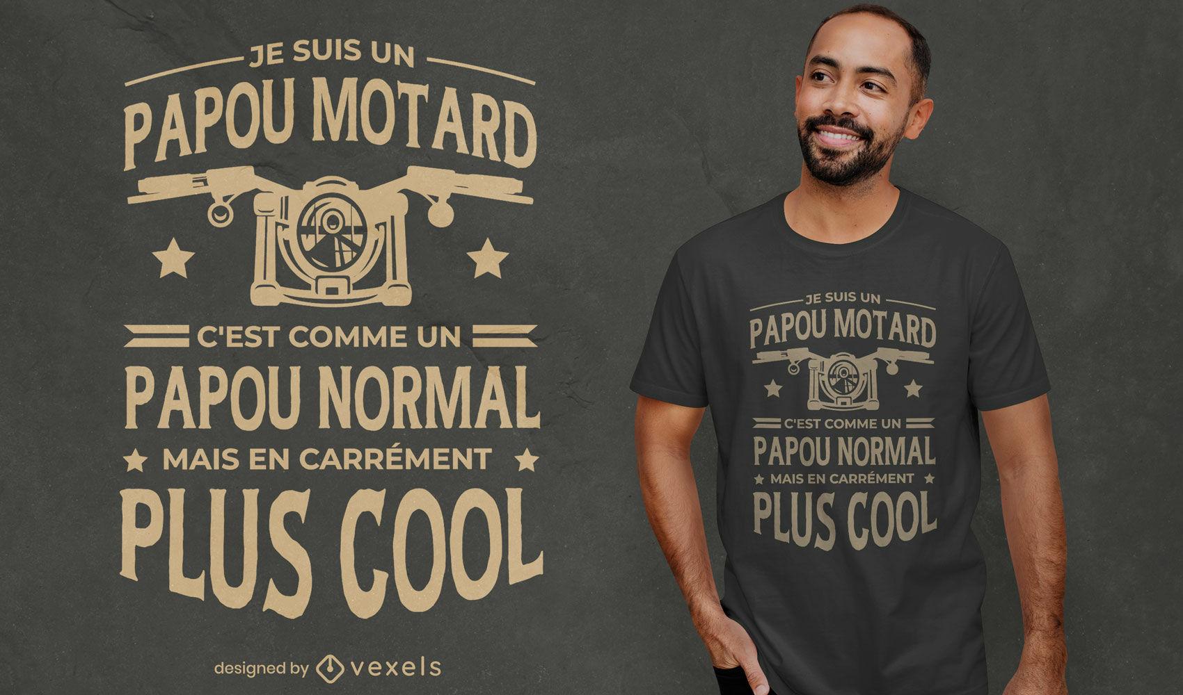 Design de camiseta vintage motocicleta com cita?es francesas