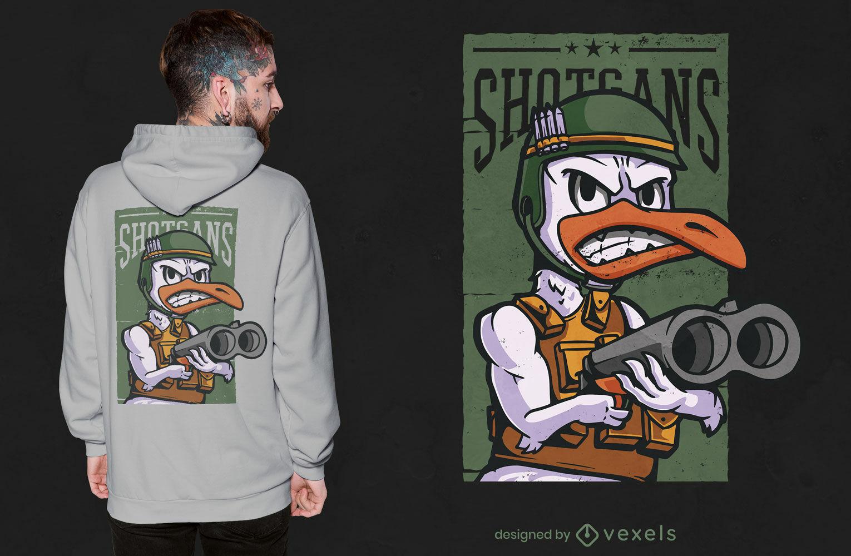 Diseño de camiseta de dibujos animados de ganso del ejército