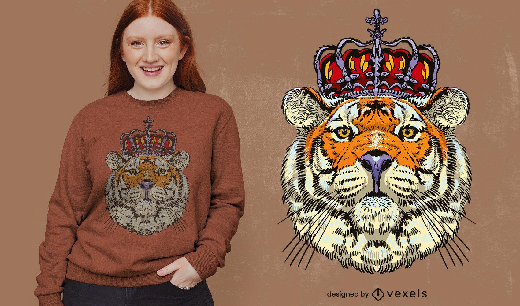 King tiger animal with crown t-shirt design