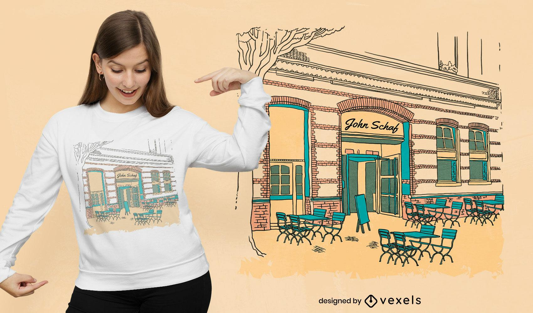 Diseño de camiseta de restaurante pequeño edificio.