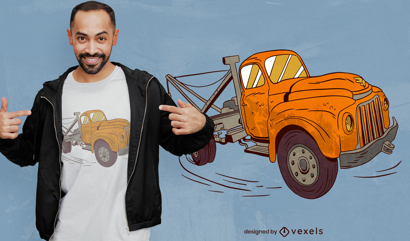 Rostiges altes gelbes LKW-T-Shirt-Design