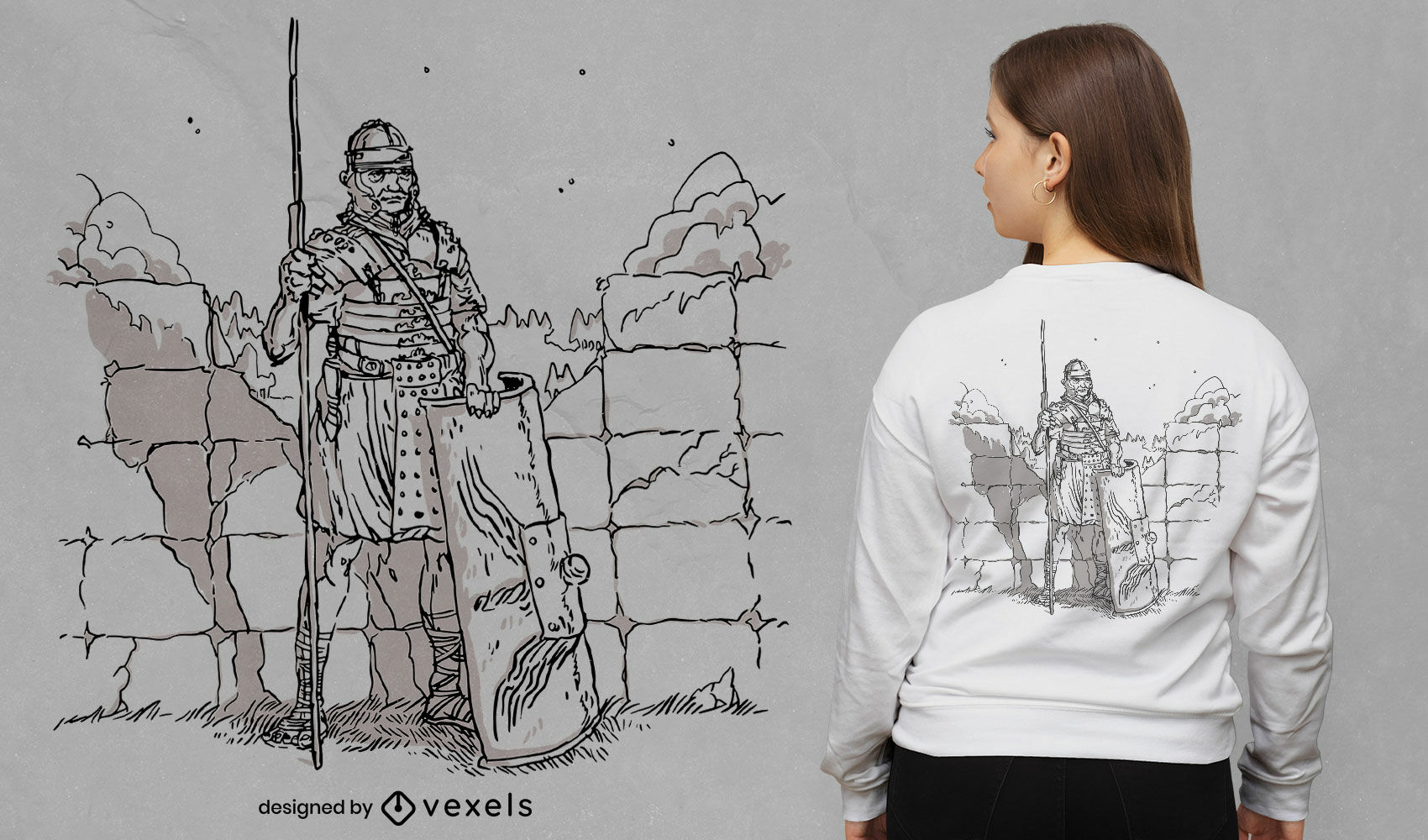 Diseño de camiseta dibujada a mano de soldado romano
