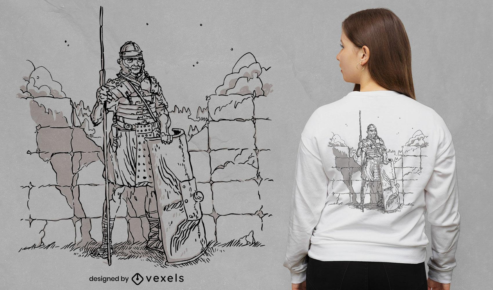 Handgezeichnetes T-Shirt-Design des römischen Soldaten