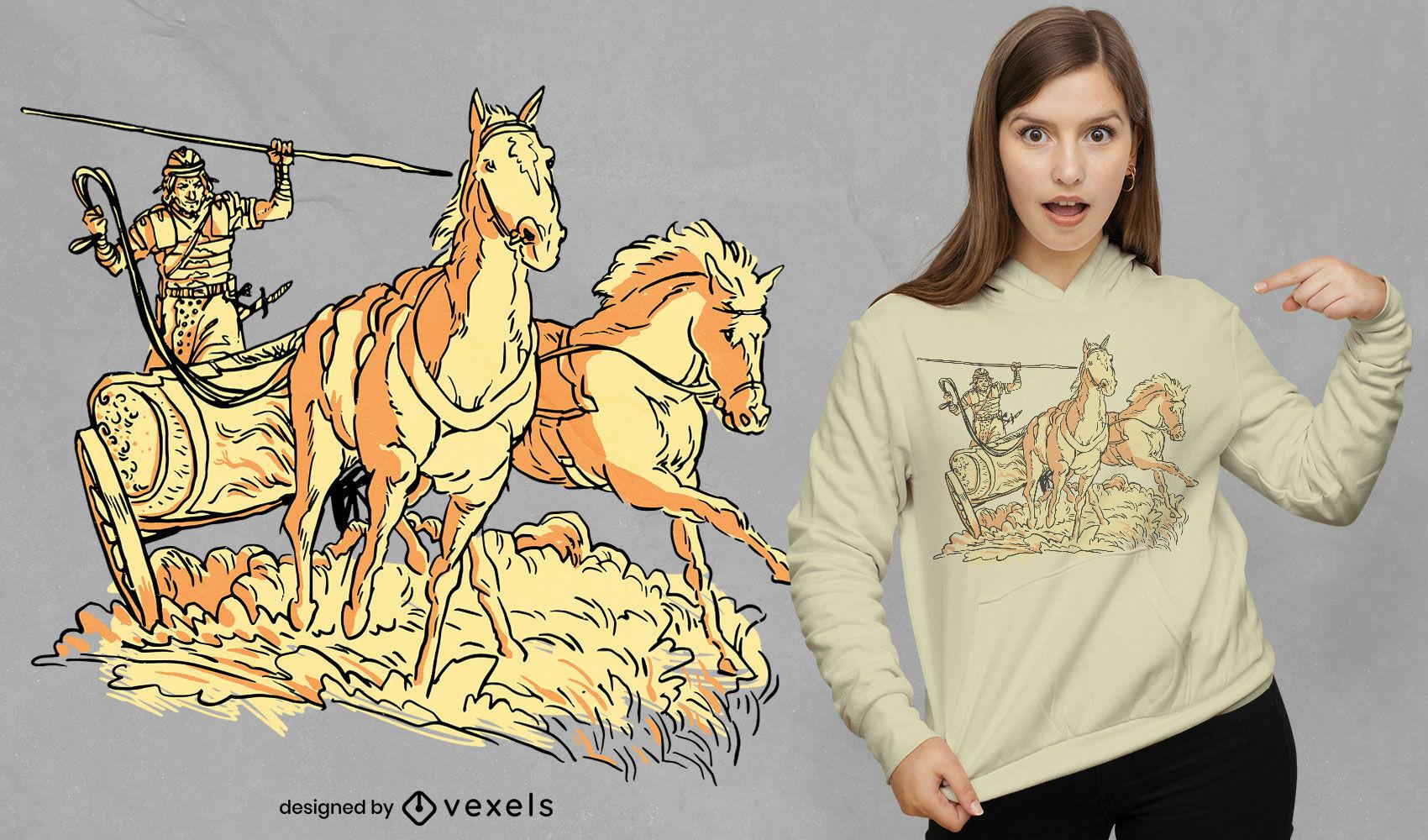 Guerrero romano en diseño de camiseta de carro de caballo.