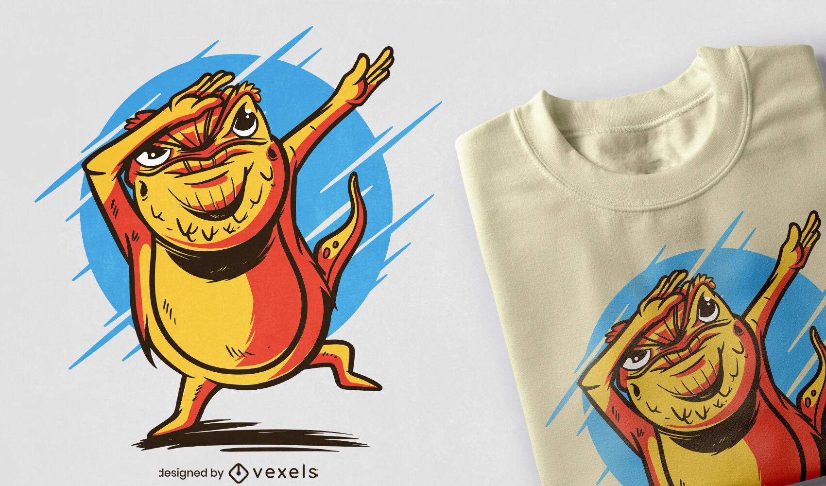 Diseño de camiseta de dragón barbudo.