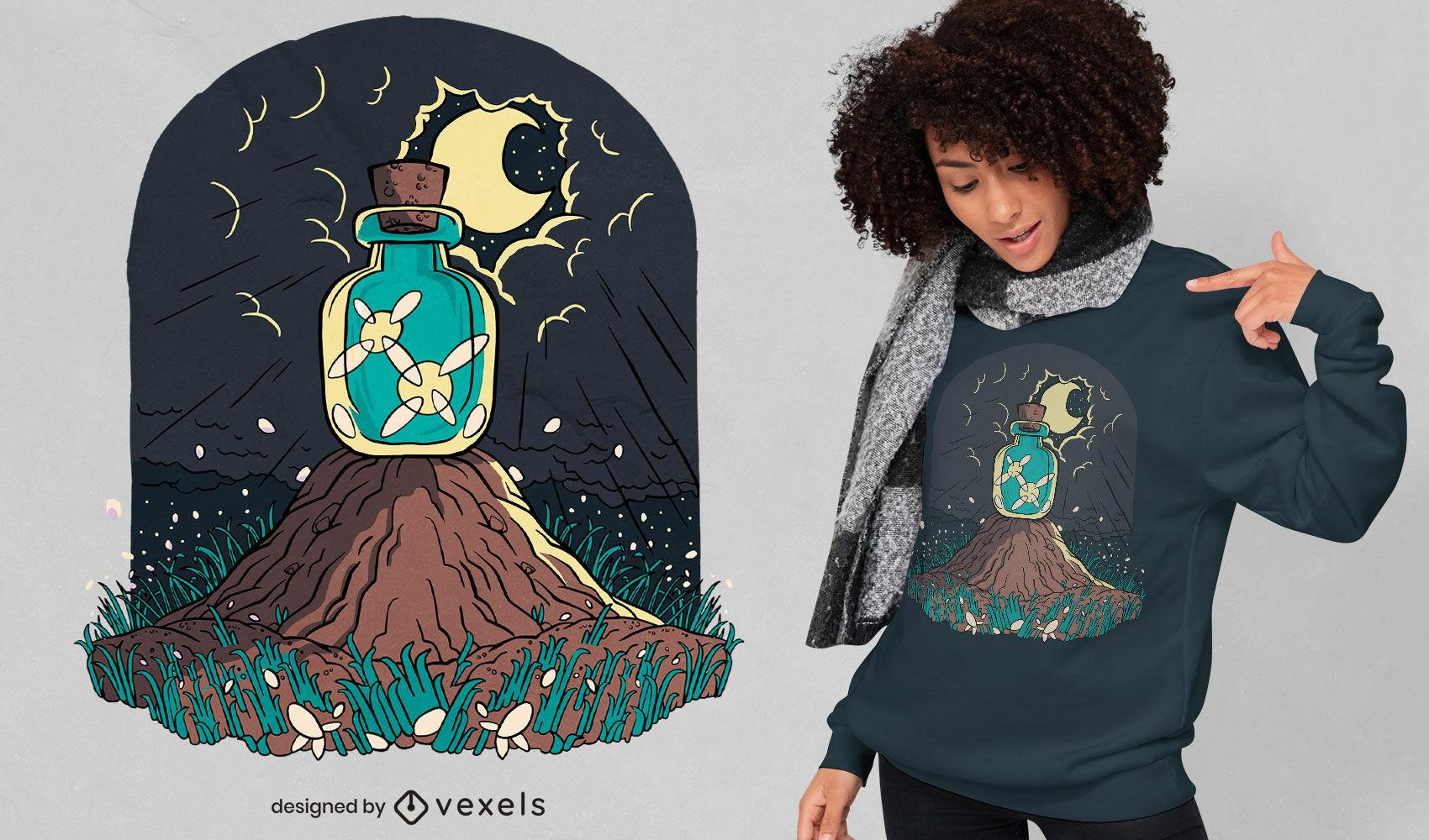 Diseño de camiseta de luces en tarro naturaleza.
