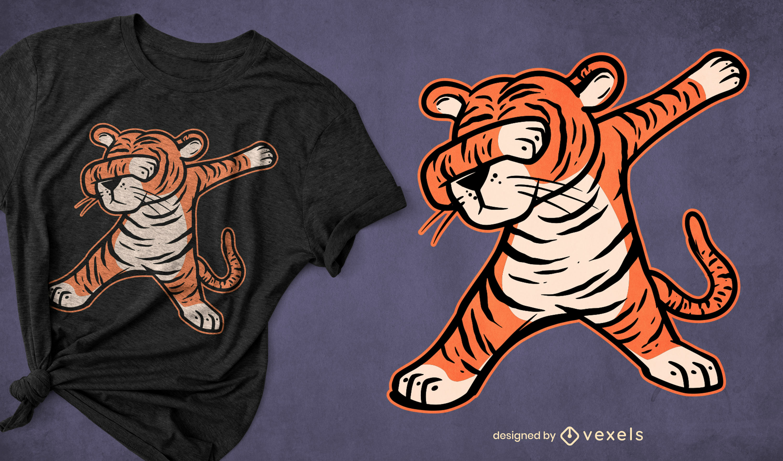 Tiger animal dabbing t-shirt design