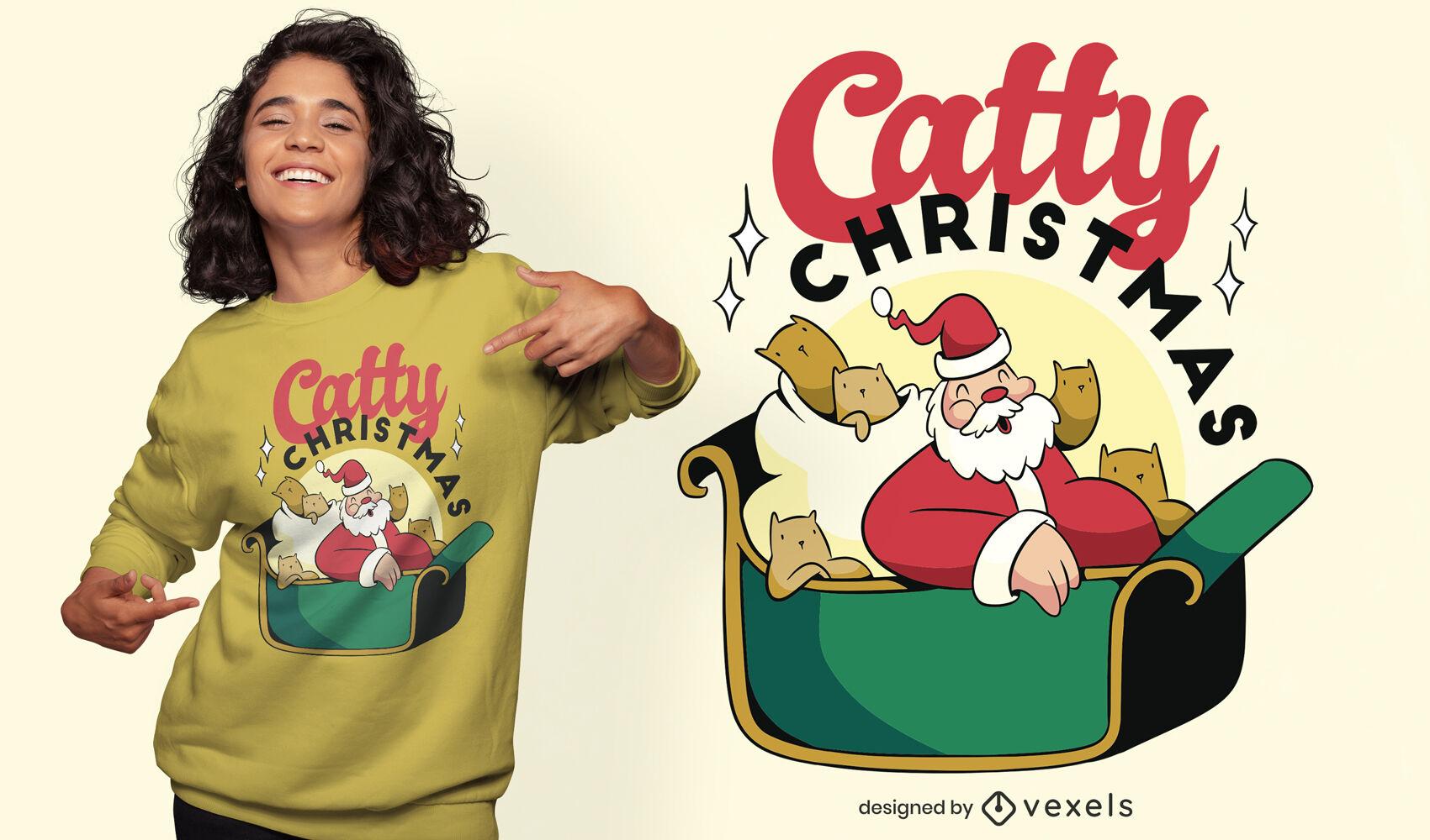 Schönes, katzenhaftes Weihnachts-T-Shirt-Design