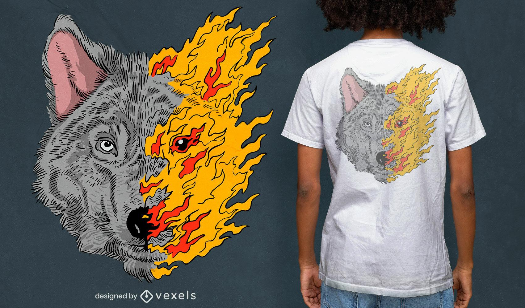 Desenho de t-shirt com metade do rosto de lobo em chamas