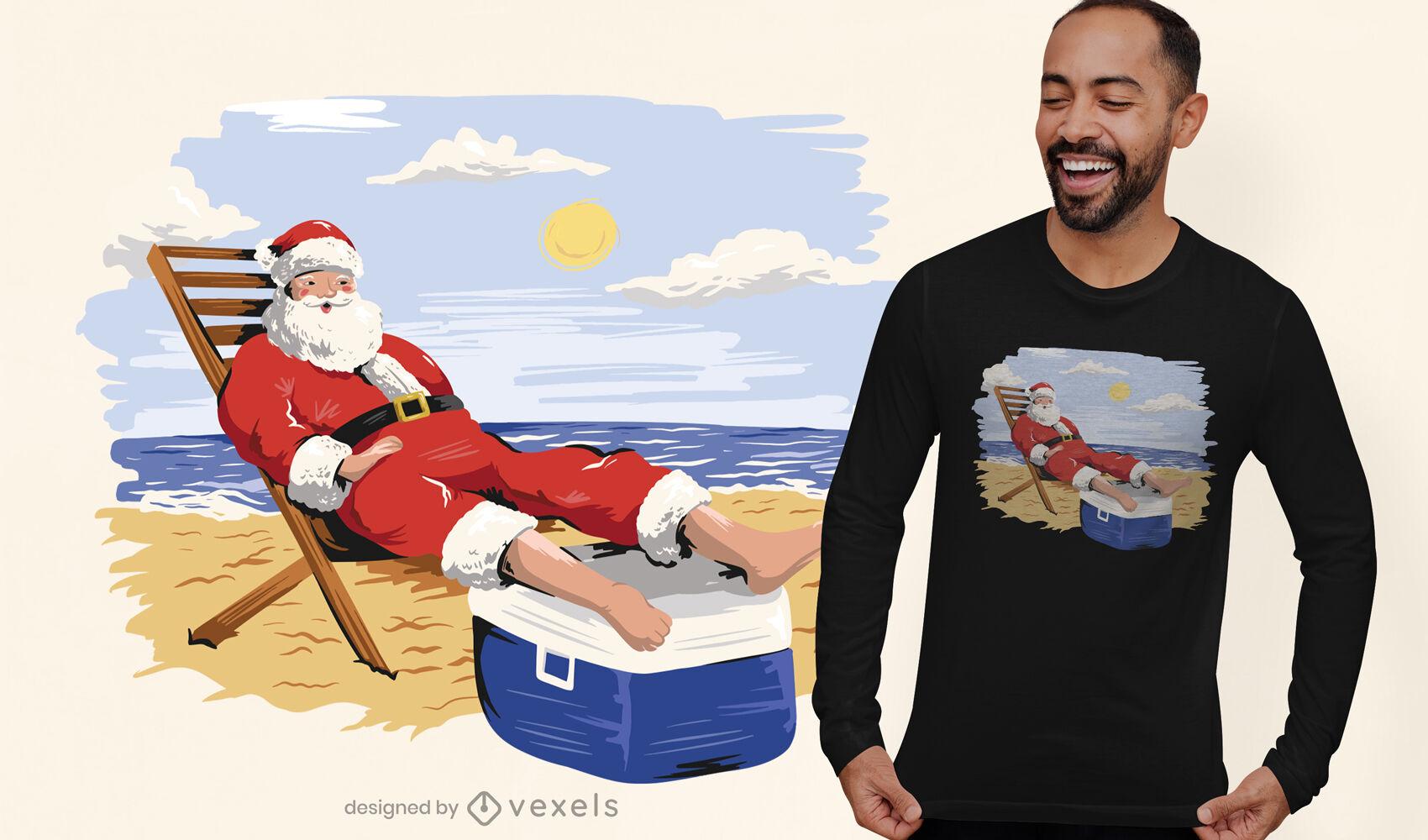 Diseño de camiseta de santa claus en la playa