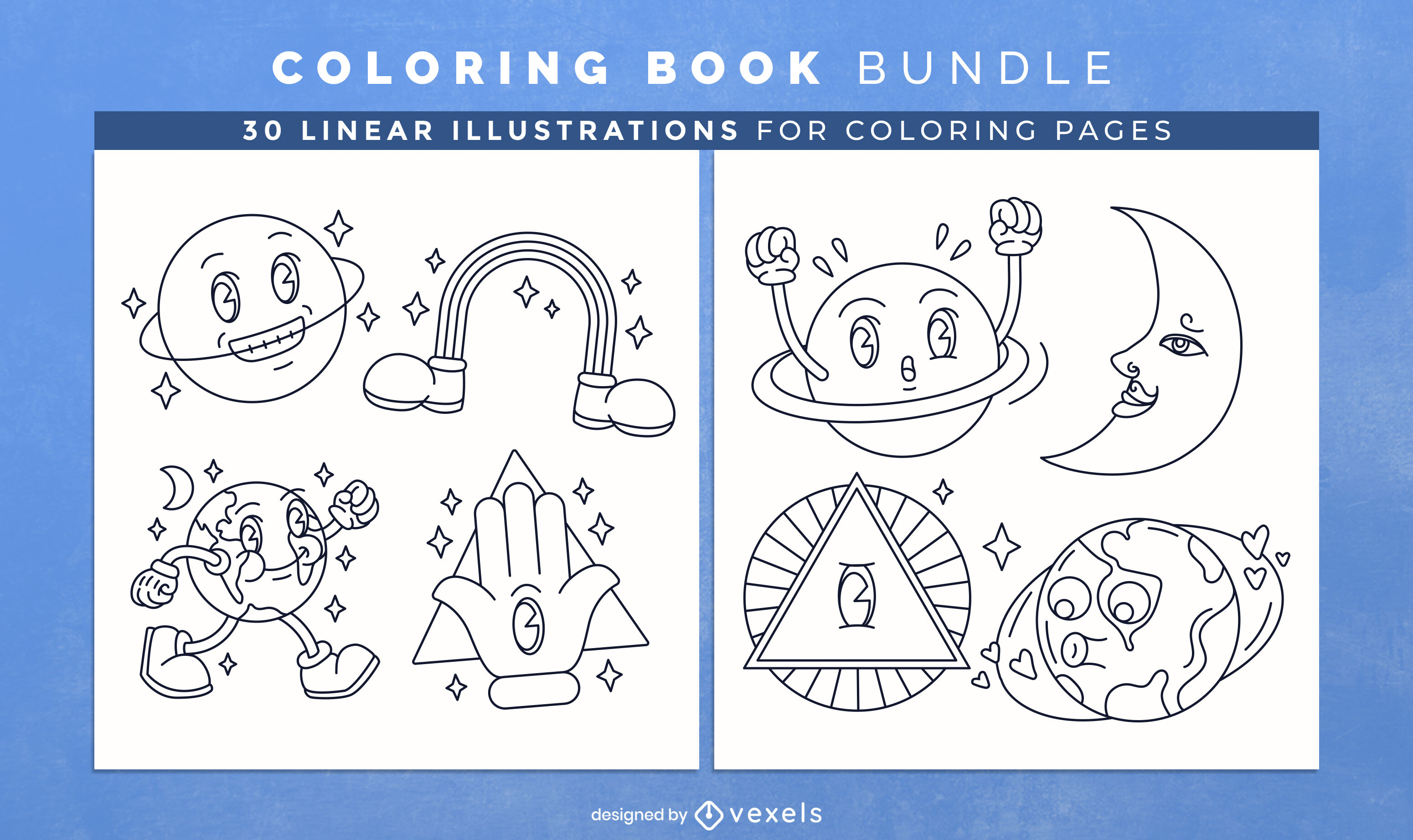 Cartoon planets coloring book design pages