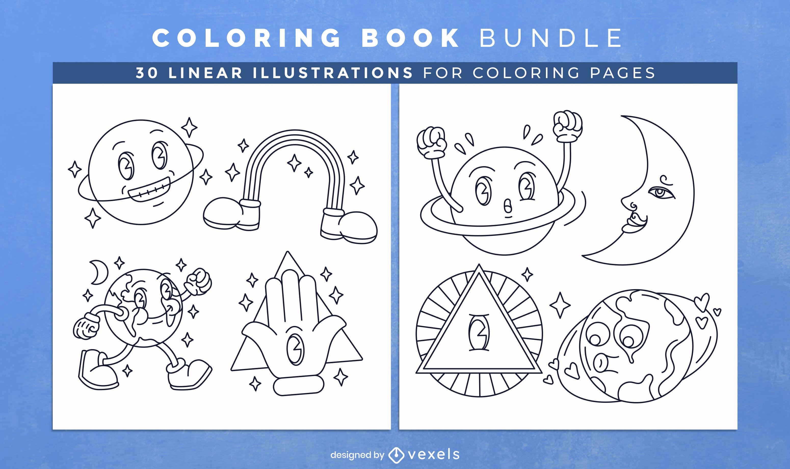 Planetas de dibujos animados para colorear páginas de diseño de libros