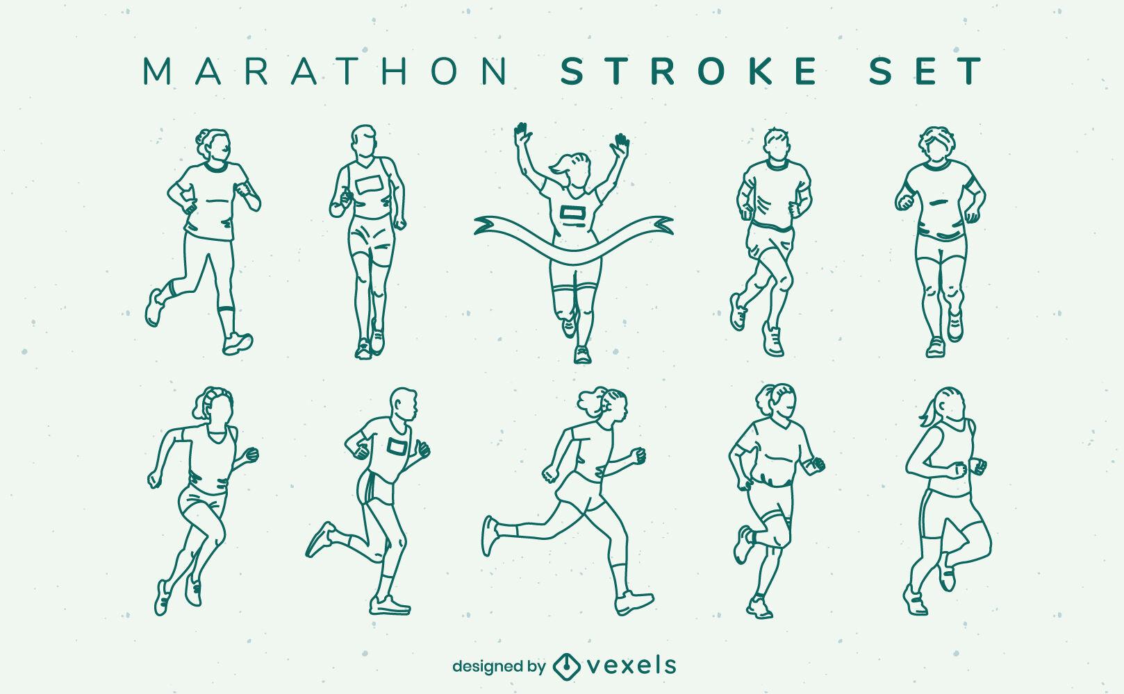 Marathon running people sport stroke set