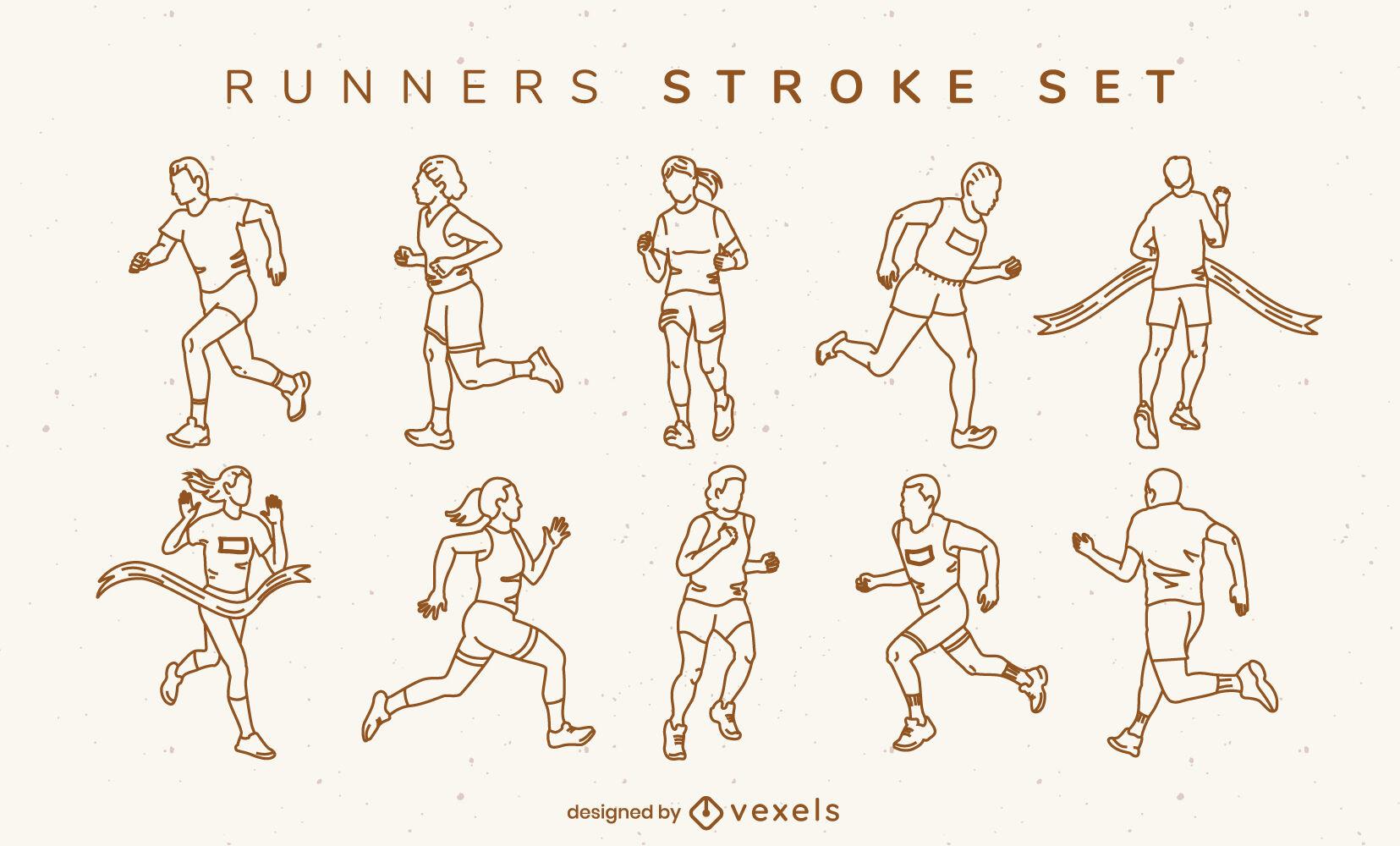 Gente rastrea correr deporte conjunto de trazos.