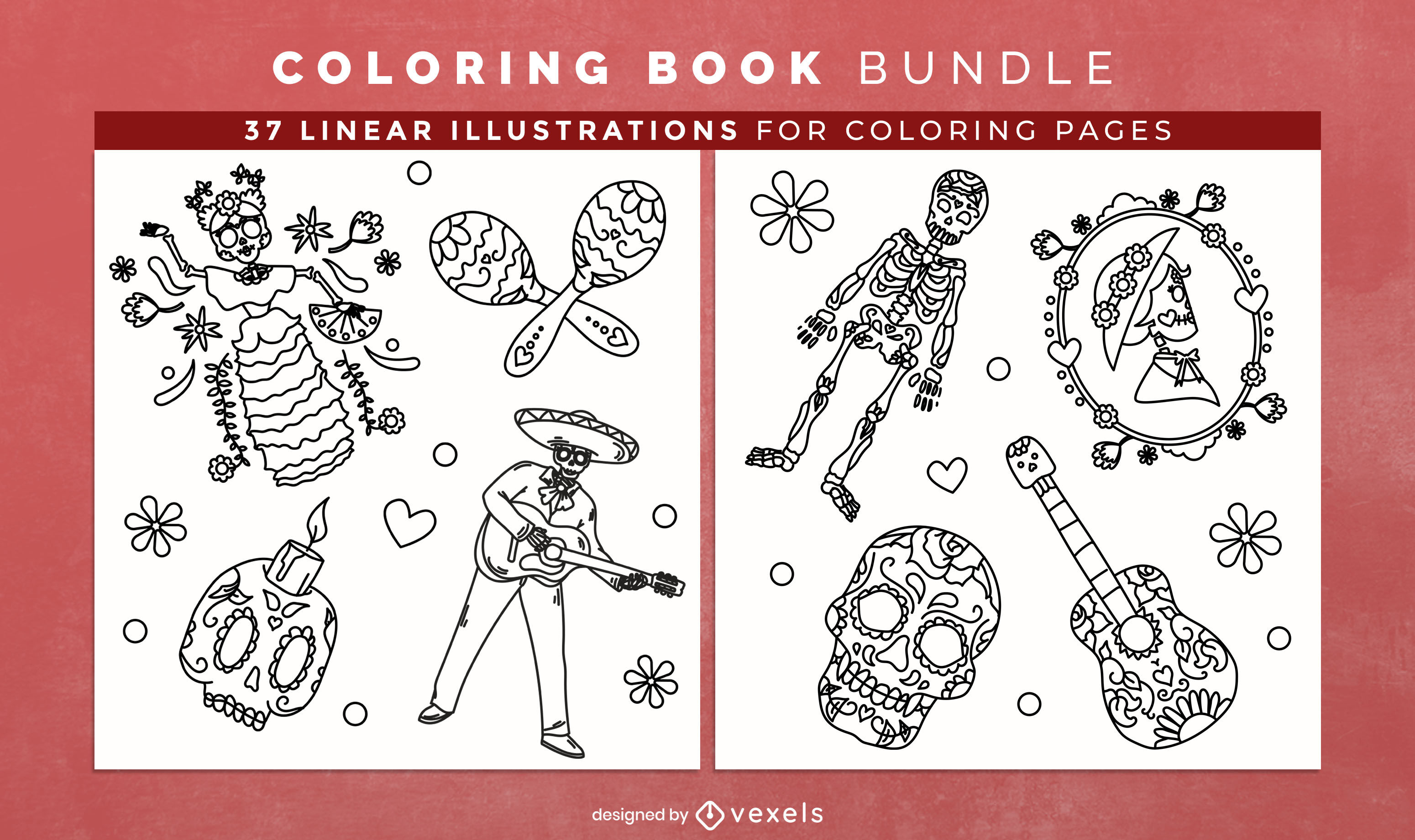 Day of the dead coloring book pages design