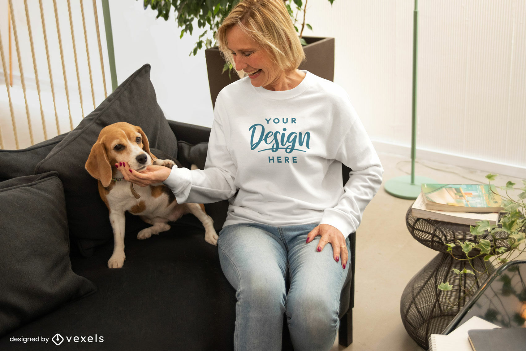 Woman in white sweatshirt with dog mockup
