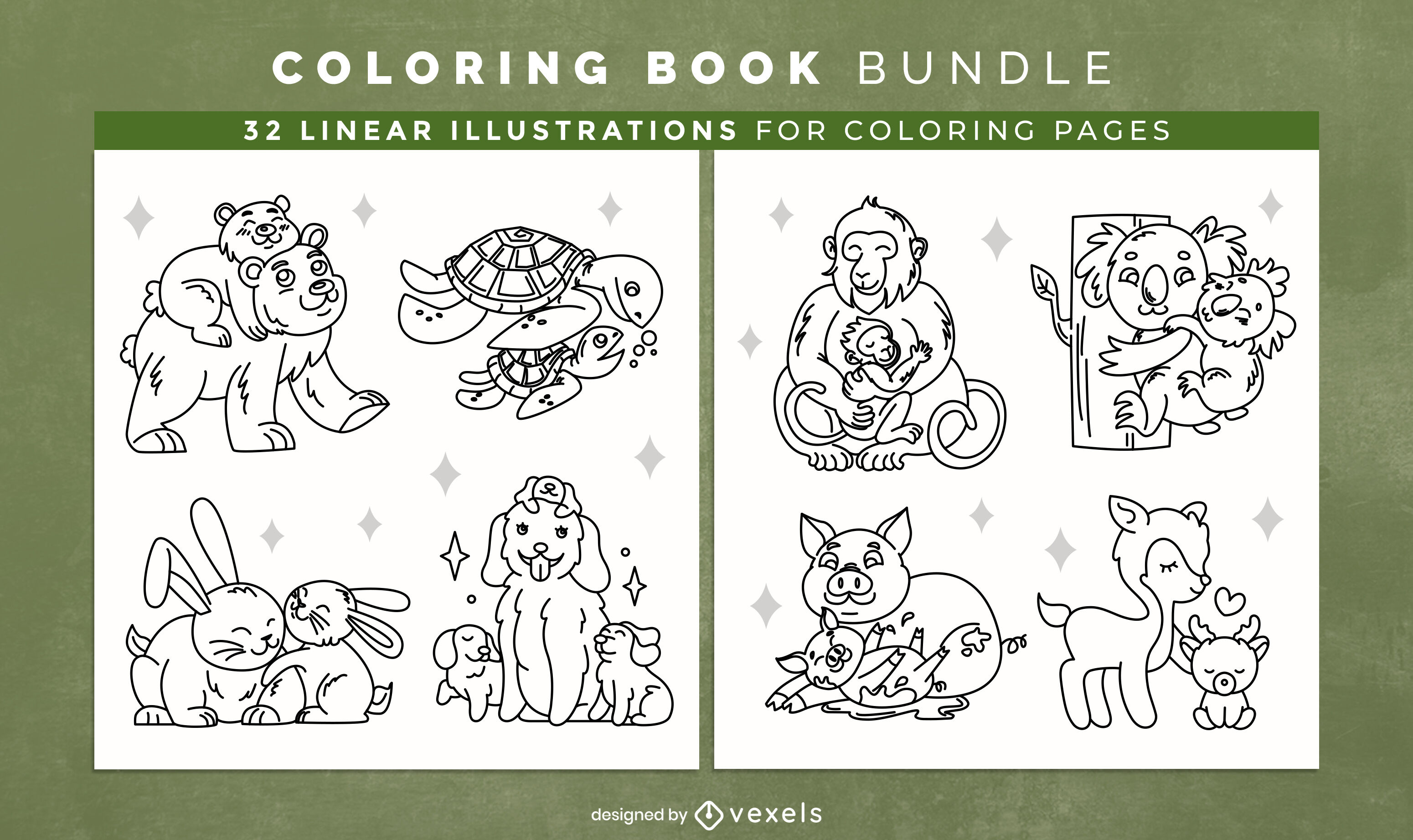 Cute animal families coloring book design pages