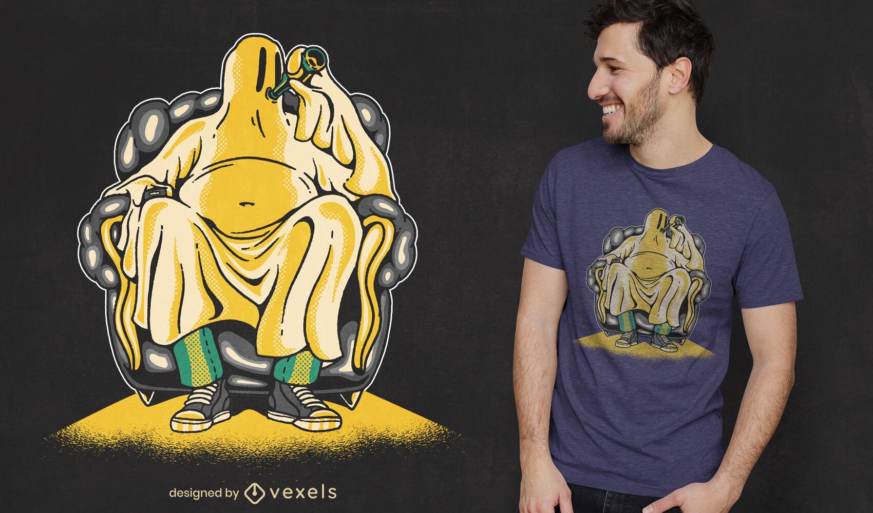 Diseño de camiseta fantasma bebiendo cerveza.