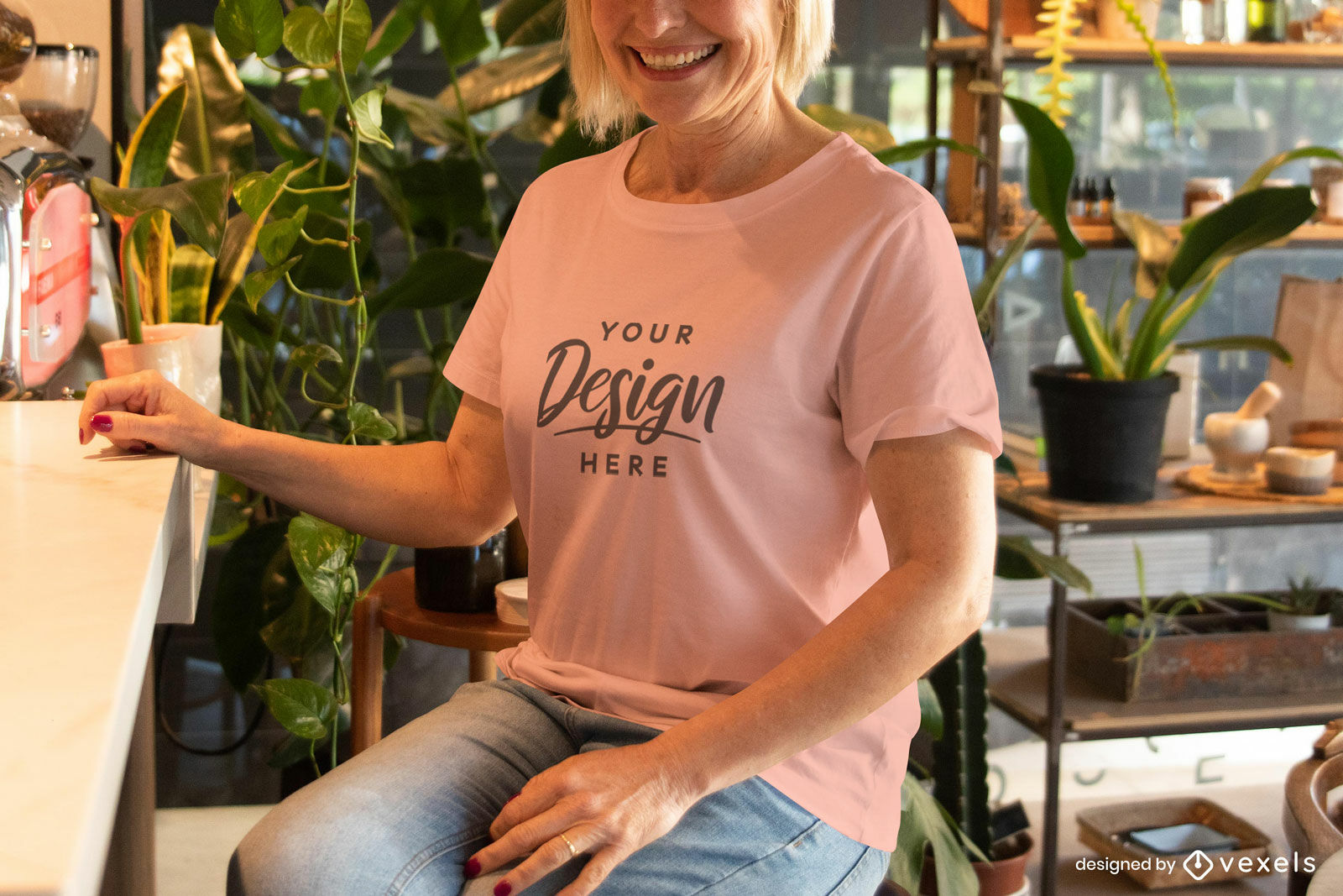 Woman mockup with pink t-shirt sitting