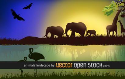Afrikanische Landschaft mit Tieren