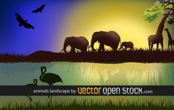 Paisaje africano con animales