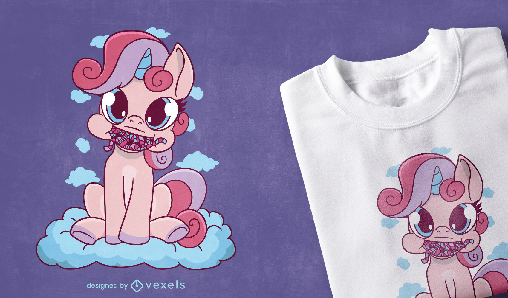Diseño de camiseta de unicornio de dibujos animados de caramelo