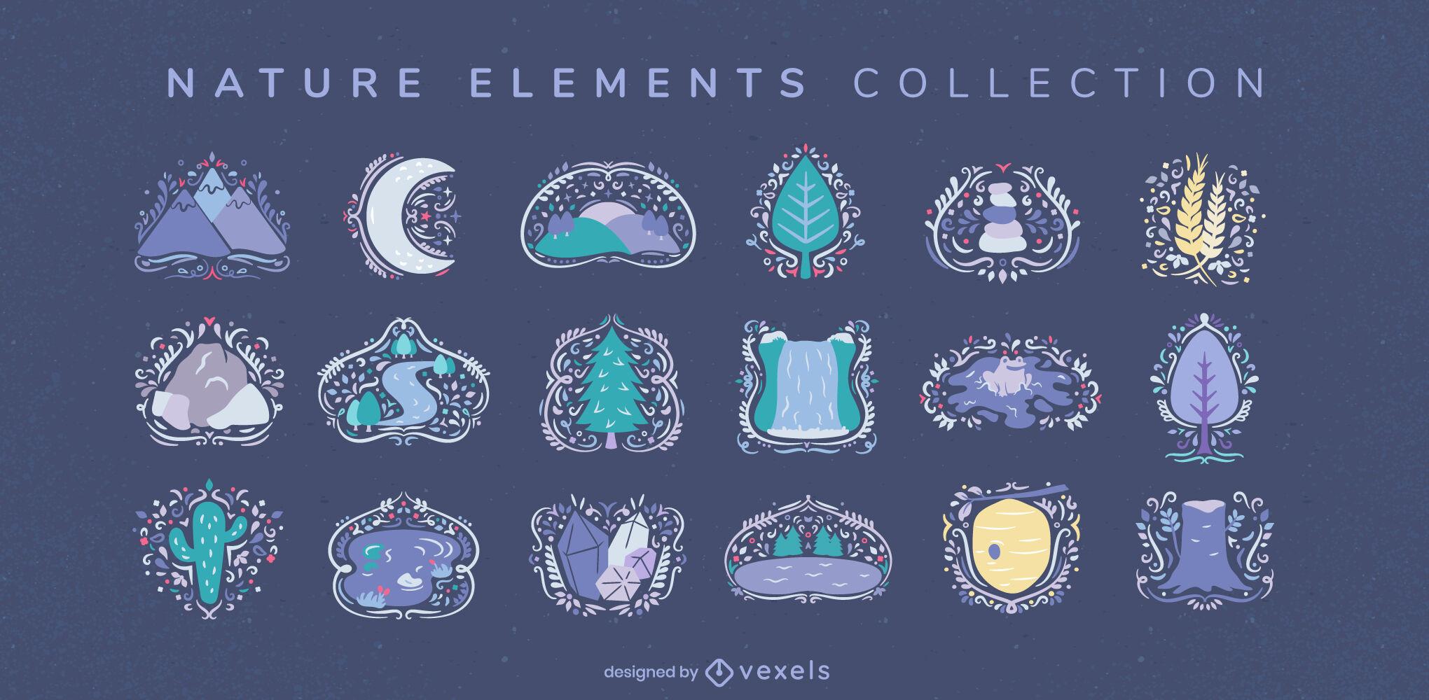 Colecci?n swirly de elementos naturales