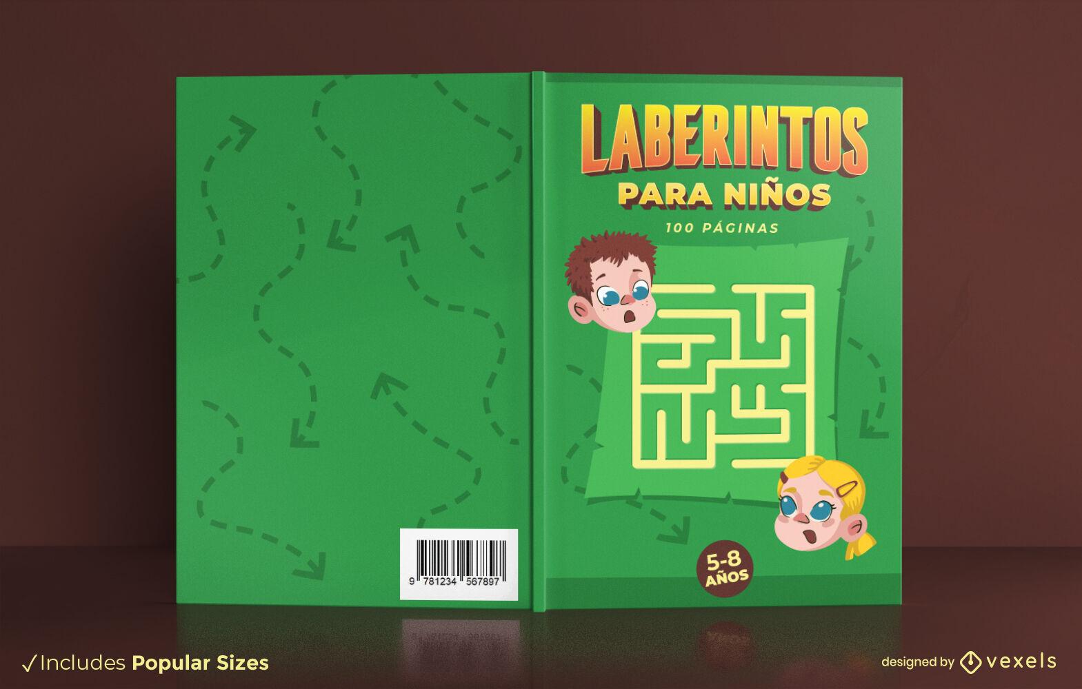 Diseño de portada de libro de juego de laberinto para niños