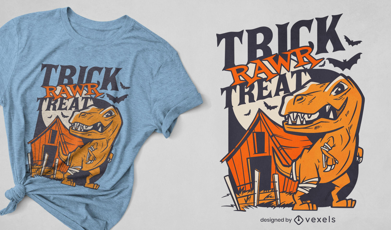 Diseño de camiseta de truco o trato de dinosaurio de halloween