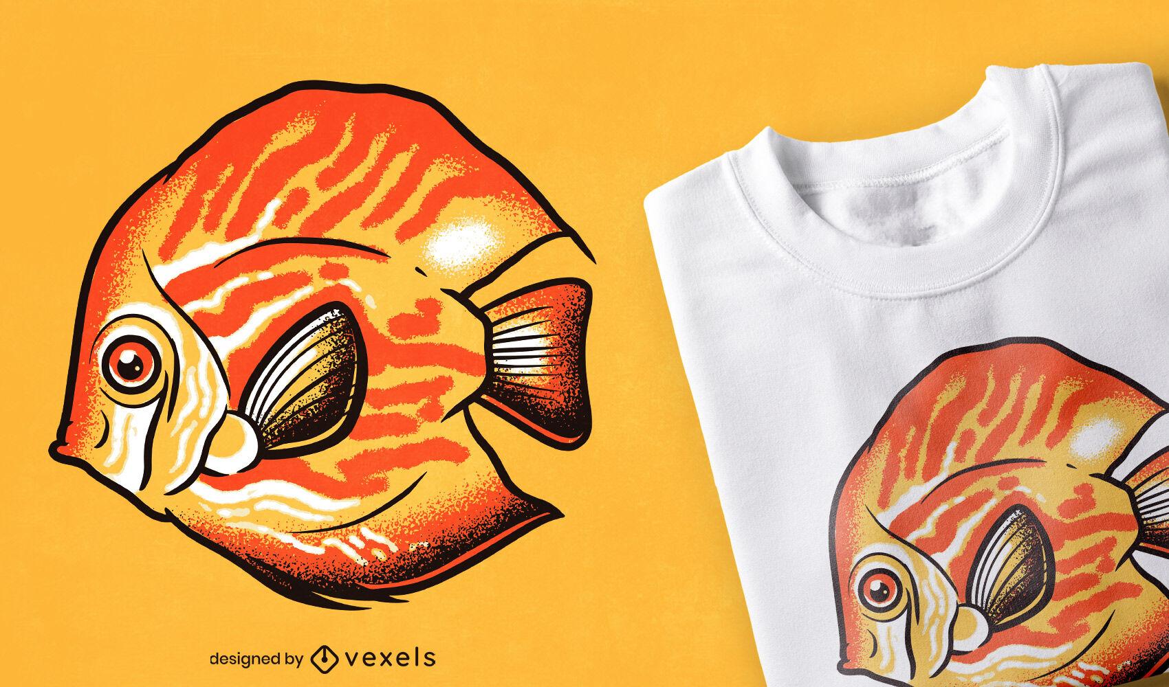 Design de t-shirt de peixes-disco e animais marinhos