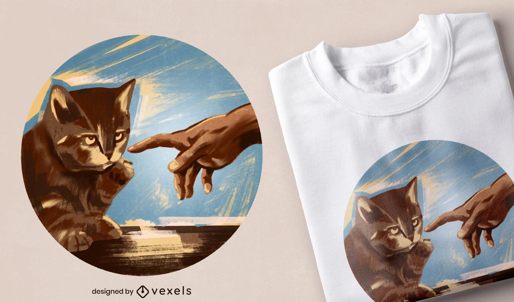 Diseño de camiseta de parodia de pintura de gato.