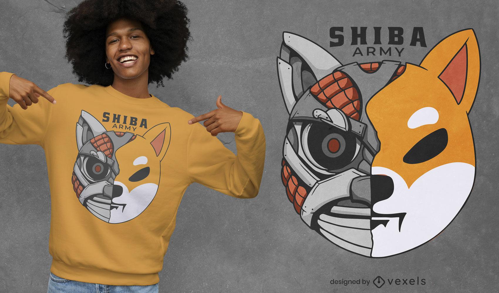 Diseño de camiseta de robot perro Shiba.