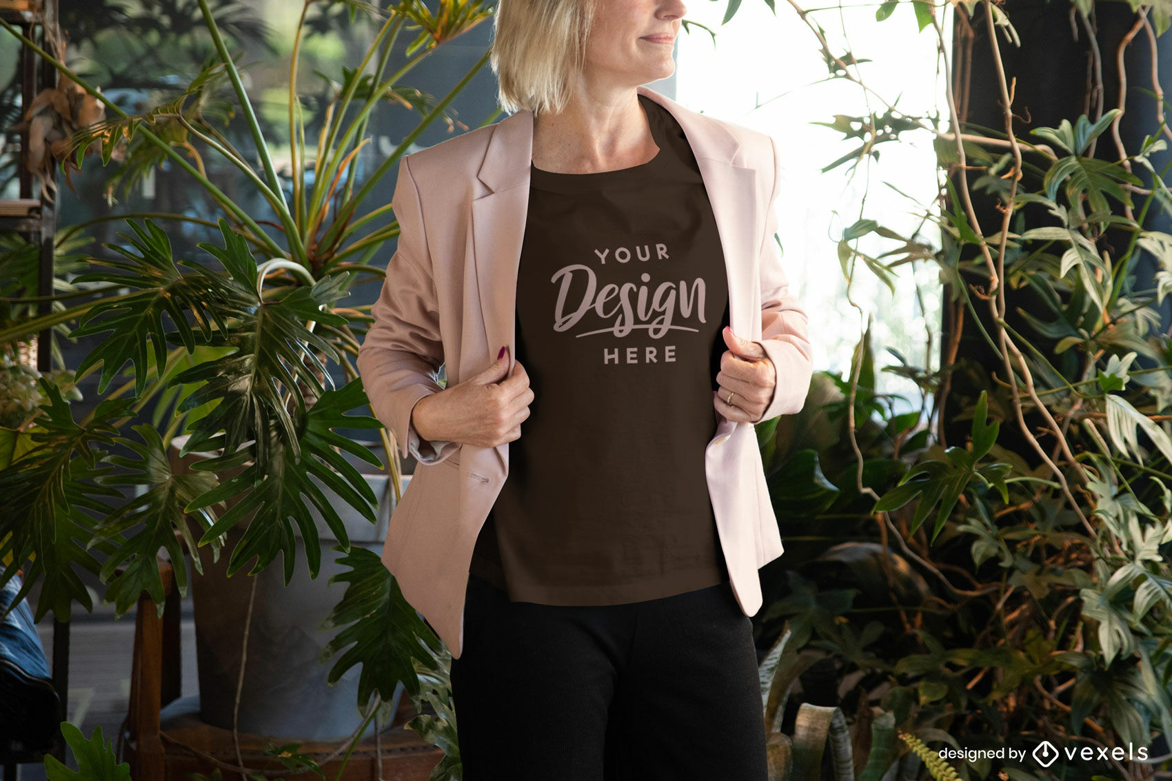 Woman in black t-shirt and pink jacket mockup