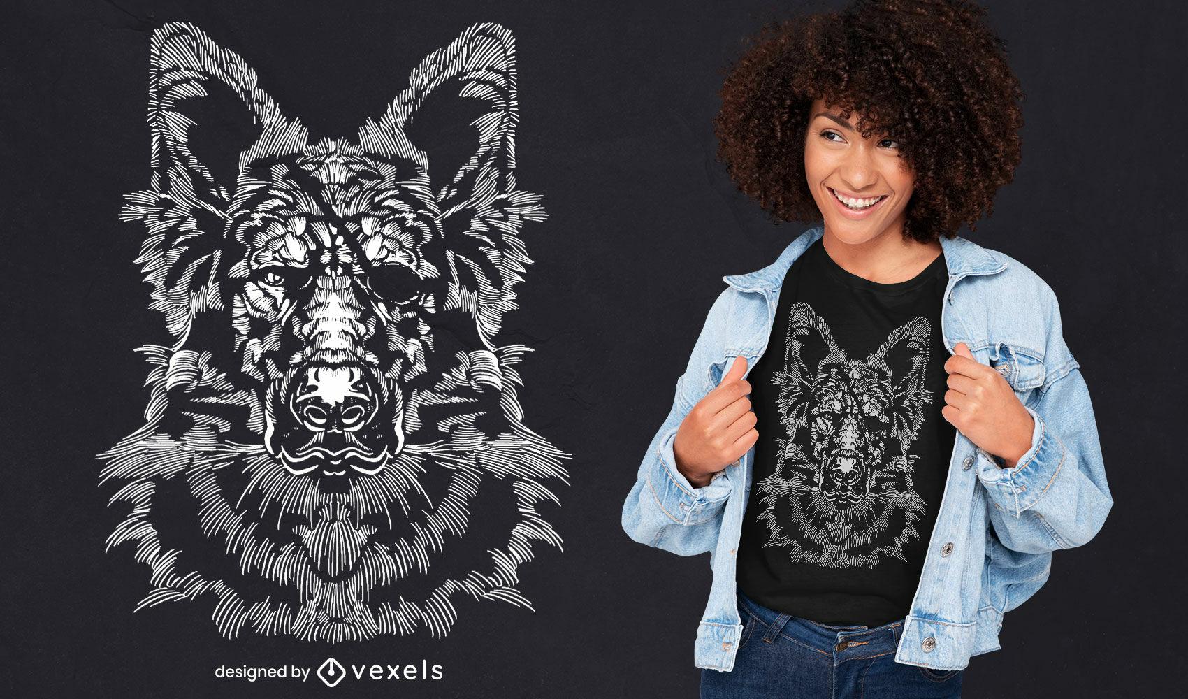 Cachorro realista com design de t-shirt de tapa-olho
