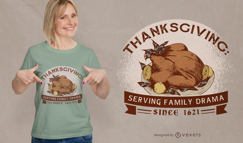 Diseño de camiseta divertida anti-acción de gracias.