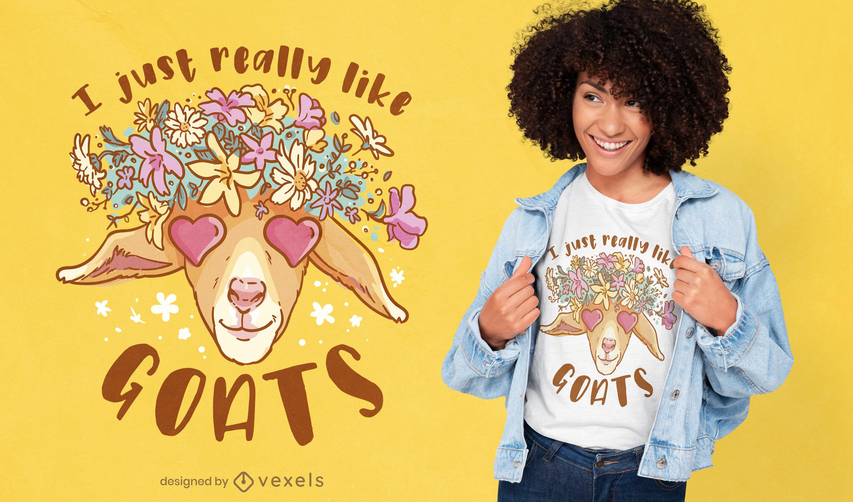 Ich liebe Ziegen-T-Shirt-Design wirklich