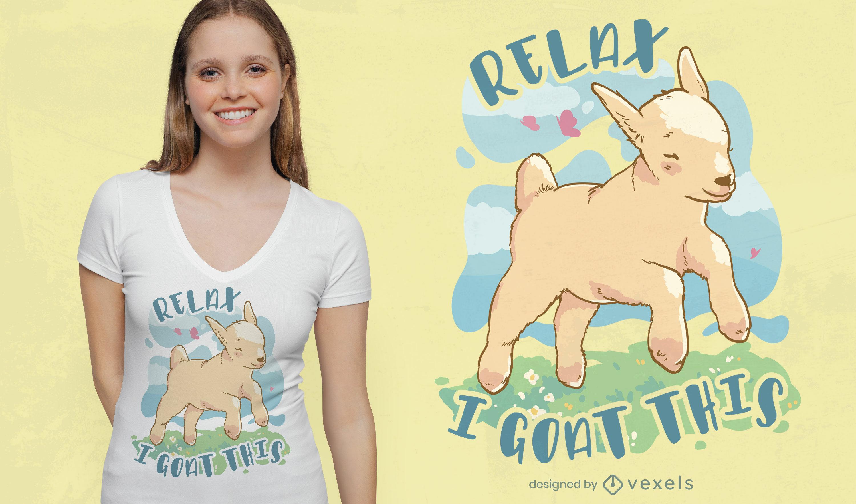Precioso diseño de camiseta de cabra relax.