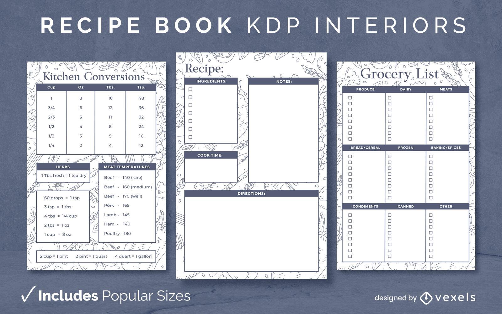KDP do modelo de design de livro de receitas de ingredientes alimentares