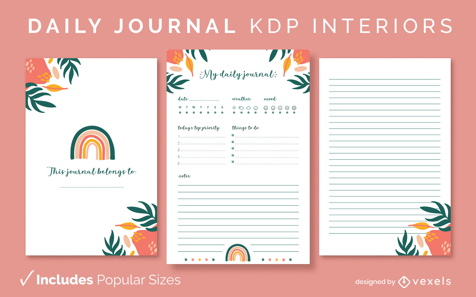 Nature daily journal design template KDP