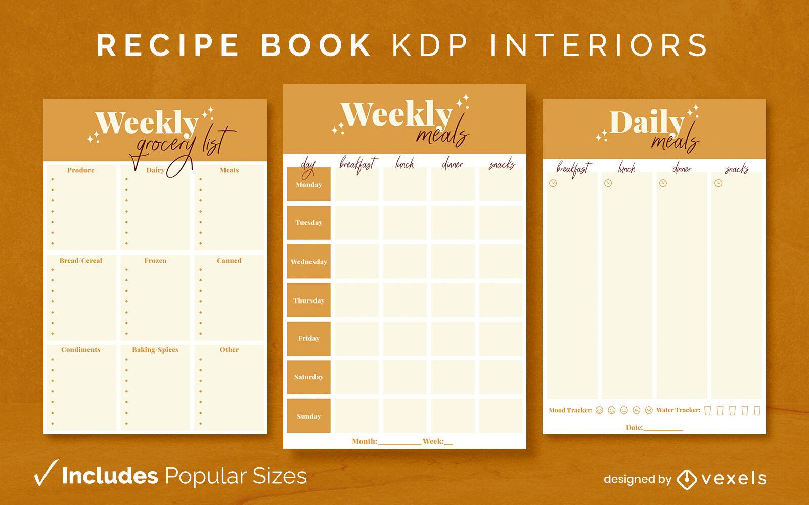 Sparkly recipe book design template KDP