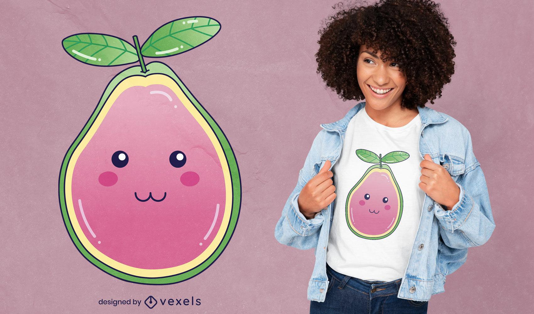 Diseño de camiseta de comida de fruta de guayaba kawaii