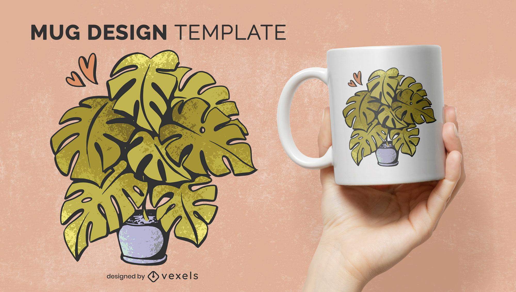 Plant with big leaves nature mug template