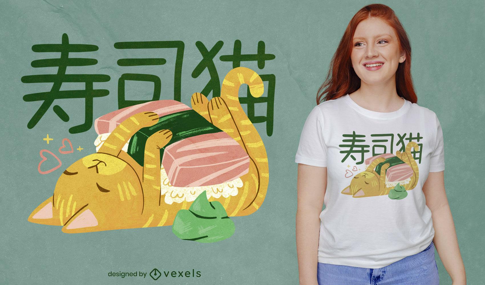 Design de camiseta japonesa psd de gato sushi