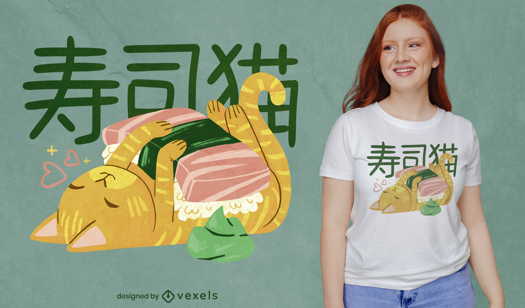 Sushi Katze japanisches PSD T-Shirt Design