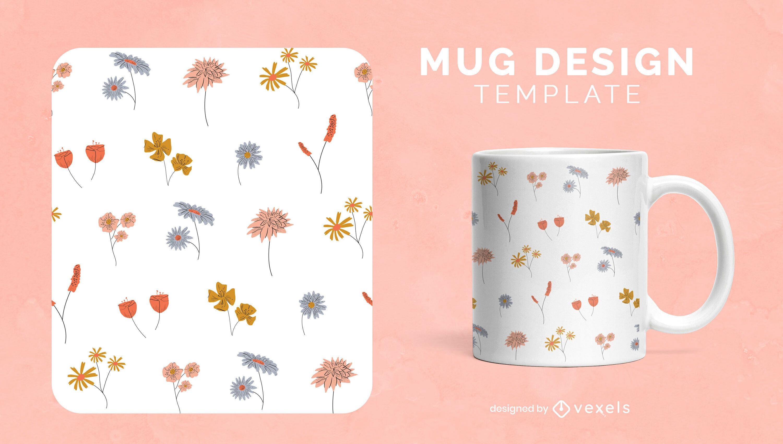Small flower garden nature mug template