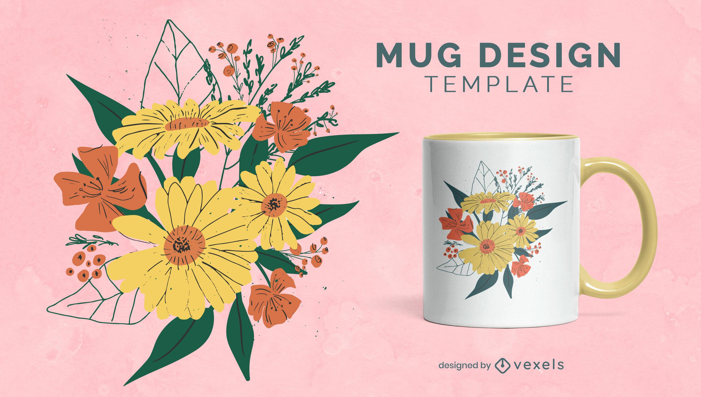 Diseño de taza de ramo de flores y hojas.