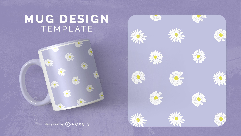 Daisy flower pattern mug design
